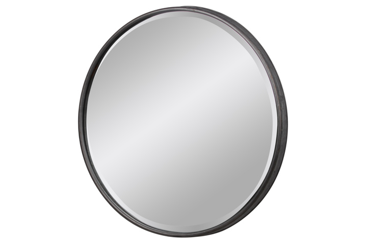 UTC37518 Metal Round Wall Mirror With Keyhole Hanger LG Tarnished Finish Gray