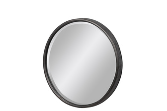 UTC37519 Metal Round Wall Mirror With Keyhole Hanger SM Tarnished Finish Gray