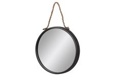 UTC37520 Metal Round Wall Mirror With Rope Hanger Tarnished Finish Gray