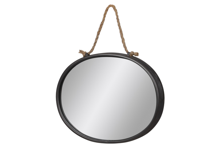 UTC37521 Metal Oval Mirror With Rope Hanger Tarnished Finish Gray
