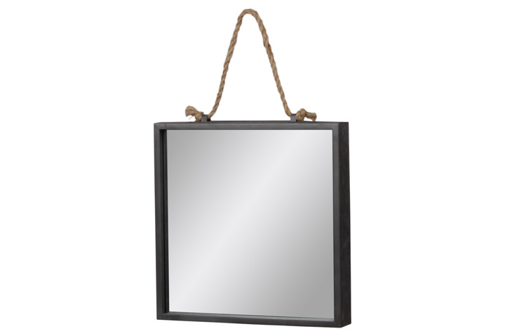 UTC37522 Metal Squre Wall Mirror with Rope Hanger Tarnished Finish Gray