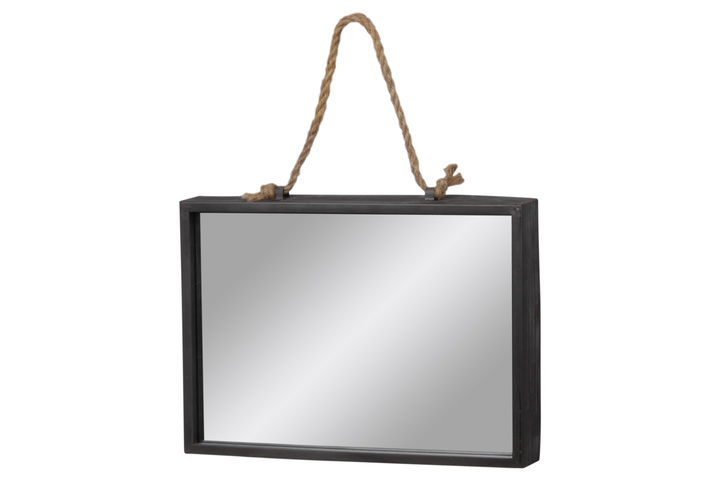 UTC37523 Metal Rectangle Wall Mirror with Rope Hanger Tarnished Finish Gray