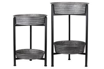 UTC37524 Metal Round Removable Wash Basin Layered Table Set of Two Galvanized Finish Gray