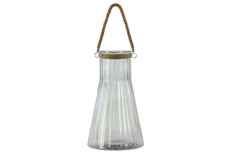 UTC37626 Glass Round Flask Shaped Candle Holder with Rope Hanger and Corrugated Pattern and Flared Bottom Clear Glass Finish Achromatic