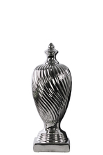 UTC38413 Ceramic Finial With Base SM Polished Chrome Finish Silver