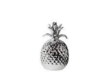 UTC38426 Porcelain Pineapple Figurine SM Polished Chrome Finish Silver