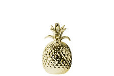 UTC38427 Porcelain Pineapple Figurine SM Polished Chrome Finish Gold