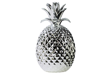 UTC38429 Porcelain Pineapple Figurine LG Polished Chrome Finish Silver