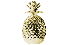 UTC38430 Ceramic Pineapple Figurine LG Polished Chrome Finish Gold
