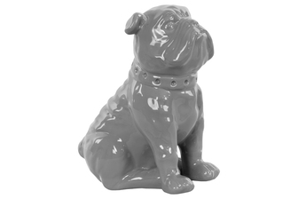 UTC38433 Ceramic Sitting British Bulldog Figurine with Collar Gloss Finish Gray