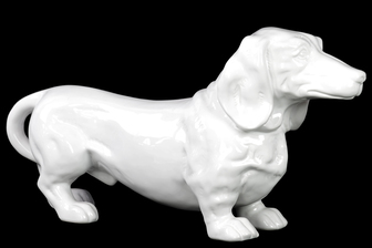 UTC38440 Ceramic Standing Dachshund Dog Figurine Gloss Finish White