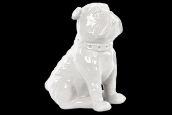 UTC38441 Ceramic Sitting British Bulldog Figurine with Collar Gloss Finish White