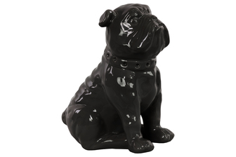 UTC38442 Ceramic Sitting British Bulldog Figurine with Collar Gloss Finish Black