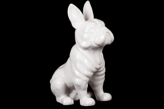 UTC38443 Ceramic Sitting French Bulldog Figurine with Pricked Ears Gloss Finish White
