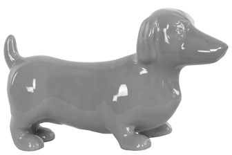 UTC38445 Ceramic Standing Dachshund Dog Figurine Gloss Finish Gray