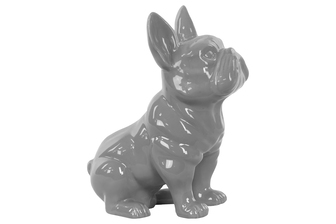 UTC38446 Ceramic Sitting French Bulldog Figurine with Pricked Ears Gloss Finish Gray