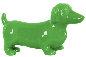UTC38449 Ceramic Standing Dachshund Dog Figurine Gloss Finish Green