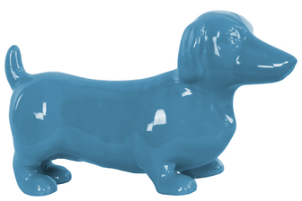 UTC38450 Ceramic Standing Dachshund Dog Figurine Gloss Finish Blue