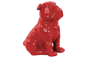 UTC38453 Ceramic Sitting British Bulldog Figurine with Collar Gloss Finish Red