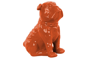 UTC38454 Ceramic Sitting British Bulldog Figurine with Collar Gloss Finish Orange