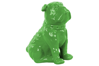 UTC38455 Ceramic Sitting British Bulldog Figurine with Collar Gloss Finish Green