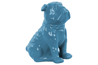 UTC38456 Ceramic Sitting British Bulldog Figurine with Collar Gloss Finish Blue