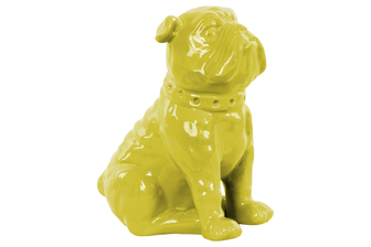 UTC38457 Ceramic Sitting British Bulldog Figurine with Collar Gloss Finish Yellow