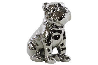 UTC38458 Ceramic Sitting British Bulldog Figurine with Collar Polished Chrome Finish Silver
