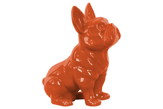 UTC38460 Ceramic Sitting French Bulldog Figurine with Pricked Ears Gloss Finish Orange