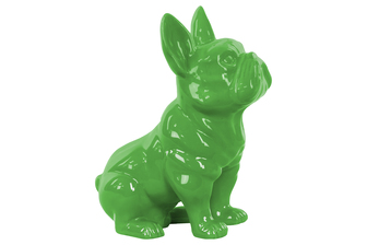 UTC38461 Ceramic Sitting French Bulldog Figurine with Pricked Ears Gloss Finish Green