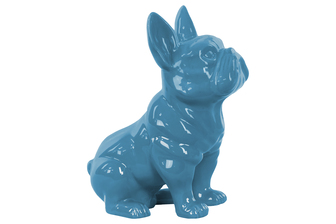 UTC38462 Ceramic Sitting French Bulldog Figurine with Pricked Ears Gloss Finish Blue