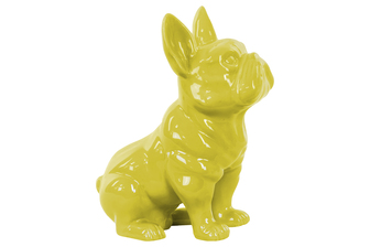 UTC38463 Ceramic Sitting French Bulldog Figurine with Pricked Ears Gloss Finish Yellow