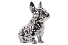 UTC38464 Ceramic Sitting French Bulldog Figurine with Pricked Ears Polished Chrome Finish Silver