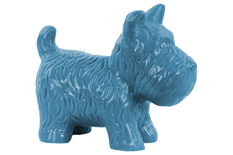 UTC38468 Ceramic Standing Welsh Terrier Dog Figurine Gloss Finish Blue