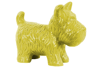 UTC38469 Ceramic Standing Welsh Terrier Dog Figurine Gloss Finish Yellow