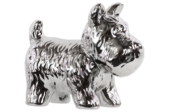 UTC38470 Ceramic Standing Welsh Terrier Dog Figurine Polished Chrome Finish Silver