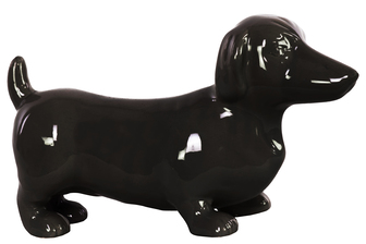 UTC38483 Ceramic Standing Dachshund Dog Figurine Gloss Finish Black