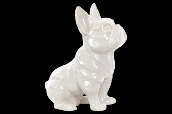 UTC38484 Ceramic Sitting French Bulldog Figurine with Pricked Ears Gloss Finish White