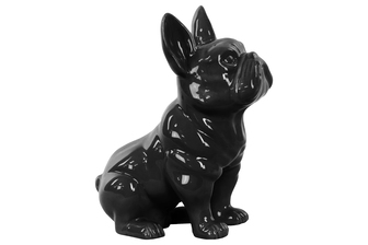 UTC38485 Ceramic Sitting French Bulldog Figurine with Pricked Ears Gloss Finish Black