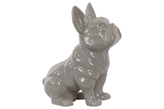 UTC38486 Ceramic Sitting French Bulldog Figurine with Pricked Ears Gloss Finish Gray