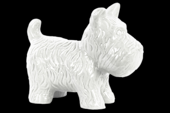 UTC38487 Ceramic Standing Welsh Terrier Dog Figurine Gloss Finish White