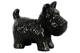 UTC38488 Ceramic Standing Welsh Terrier Dog Figurine Gloss Finish Black