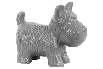 UTC38489 Ceramic Standing Welsh Terrier Dog Figurine Gloss Finish Gray