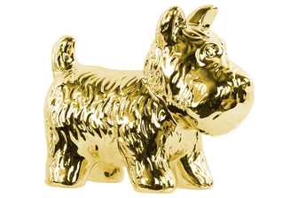 UTC38494 Ceramic Standing Welsh Terrier Dog Figurine Polished Chrome Finish Gold