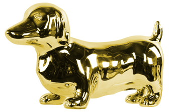 UTC38495 Ceramic Standing Dachshund Dog Figurine Polished Chrome Finish Gold