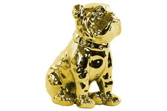 UTC38496 Ceramic Sitting British Bulldog Figurine with Collar Polished Chrome Finish Gold