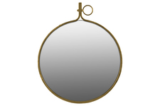 UTC38802 Metal Round Wall Mirror with Metal Hanger LG Gloss Finish Gold