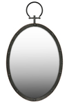 UTC38809 Metal Oval Wall Mirror with Metal Hanger Gloss Finish Black