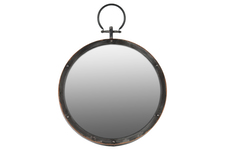 UTC38811 Metal Round Wall Mirror with Metal Hanger Gloss Finish Black
