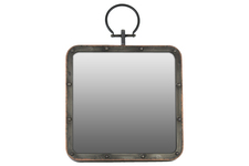 UTC38812 Metal Square Wall Mirror with Metal Hanger Gloss Finish Black